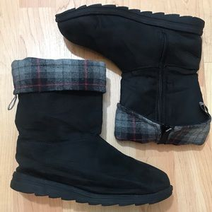 Muk Luks Black Boots with Fold over Plaid